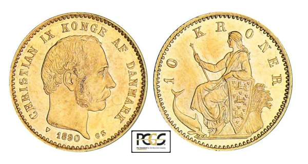 Danemark - Christian IX - 10 kroner 1890 CS