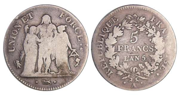 Directoire (1795-1799) - 5 francs Hercule union et force An 5 A (Paris)
