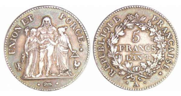 Directoire (1795-1799) - 5 francs Hercule union et force An 7 A (Paris)