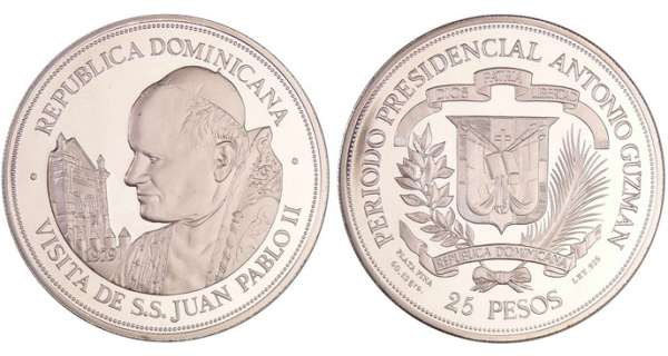 Dominique (République) - 25 pesos 1979 - Visite du Pape Jean-Paul II