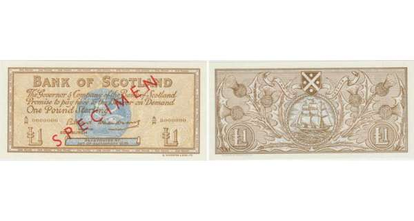 Ecosse - Bank of Scotland, 1 pound, SD 'SPECIMEN'
