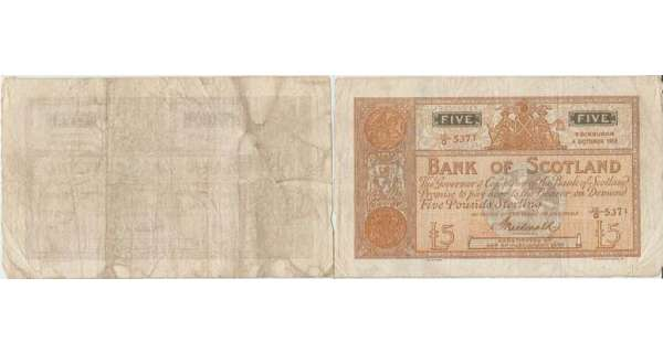 Ecosse - Bank of Scotland, 5 pounds, 4th October 1916, signature P. Macdonald