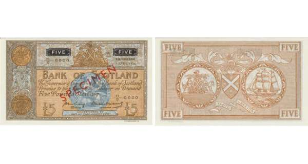 Ecosse - Bank of Scotland, 5 pounds, 9th April 1956