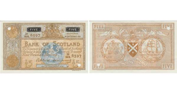Ecosse - Bank of Scotland, 5 pounds, 30th September 1961