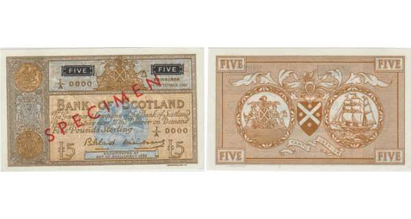 Ecosse - Bank of Scotland, 5 pounds, 14th September 1961 'SPECIMEN'