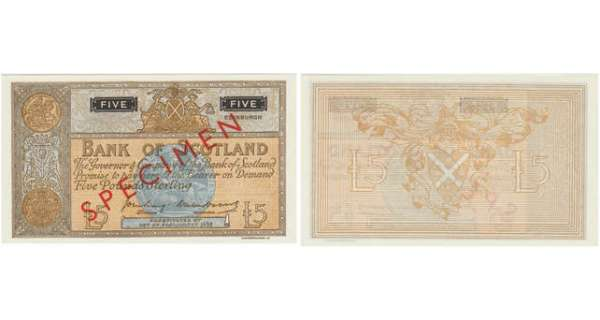 Ecosse - Bank of Scotland, 5 pounds, SD 'SPECIMEN'