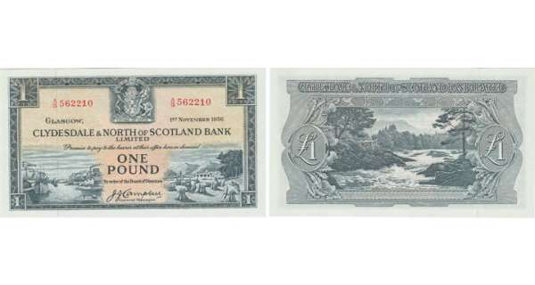 Ecosse - Clydesdale & North of Scotland bank, 1 pound, 1st November 1956