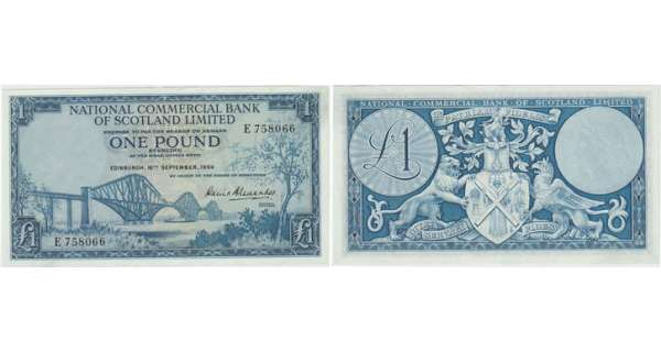 Ecosse - National commercial bank ofScotland, 1 pound, 16th September 1959