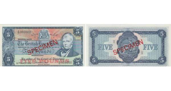 Ecosse - The British Linen Bank, 5 pounds, 22nd March 1968