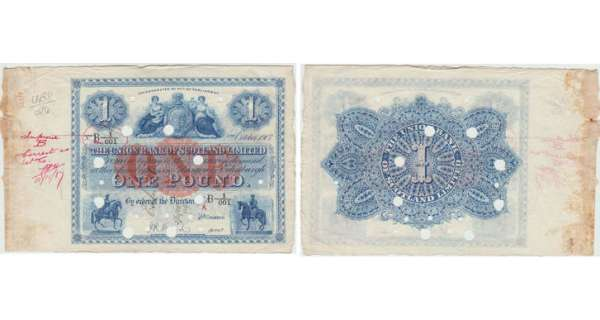 Ecosse - The Union Bank of Scotland, 1 pound, 2nd October 1907