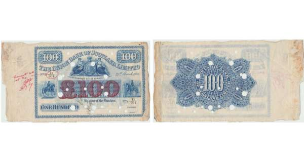 Ecosse - The Union Bank of Scotland, 100 pounds, 27th March 1906