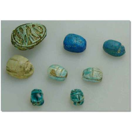 Egypte - Lot d'amulettes de scarabes - 663-332 av. J.-C.