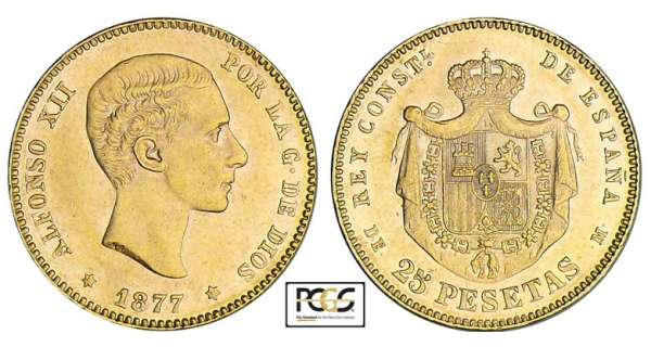 Espagne - Alfonso XII - 25 pesetas 1877 * 77 (Madrid)