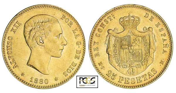 Espagne - Alfonso XII - 25 pesetas 1880 * 80 (Madrid)