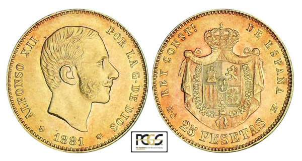 Espagne - Alfonso XII - 25 pesetas 1881 * 81 (Madrid)