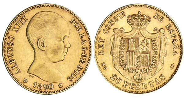 Espagne - Alfonso XIII - 20 pesetas 1890 * 90 (Madrid)