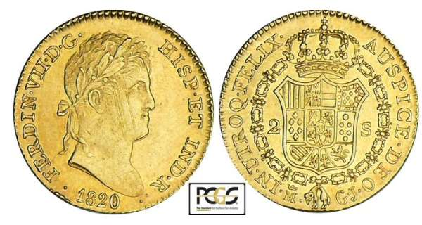 Espagne - Fernando VII - 2 escudos 1820 M (Madrid)