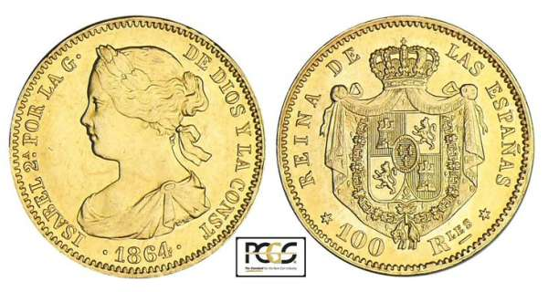 Espagne - Isabel II - 100 reales 1864 (Madrid)