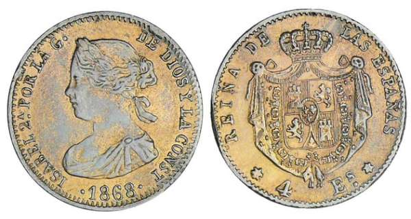 Espagne - Isabel II - 4 escudos 1868 (Madrid) faux en platine