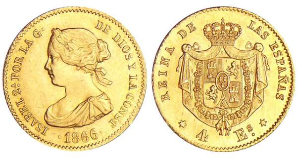 Espagne - Isabel II - 4 reales 1866 (Madrid)