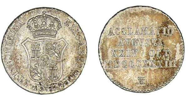 Espagne - Isabelle II - 1 real 1833 (Madrid) Isabelle II (1833-1868). A/ Ecu couronné. R/ ACCLAMATIO AVGVSTA XXIV OCT MDCCCXXXIII.