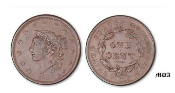 Etat-Unis - Braided hair one cent 1838 A/ 13 Stars head of libery on the left. R/ UNITED STATES OF AMERICA. ONE CENT. Crown.