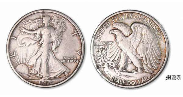 Etat-Unis - Half dollar Walking Liberty 1917 D rev.