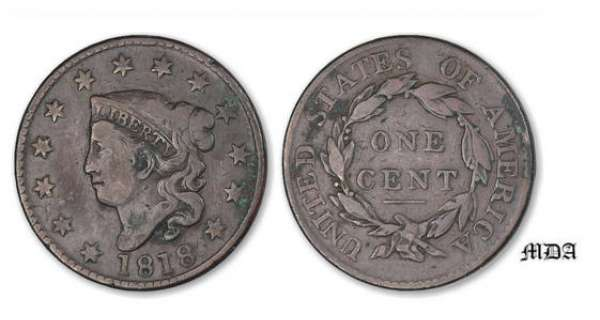 Etat-Unis - Large cent Coronet 1818 A/ 13 Stars head of libery on the left. R/ UNITED STATES OF AMERICA. ONE CENT. Crown.