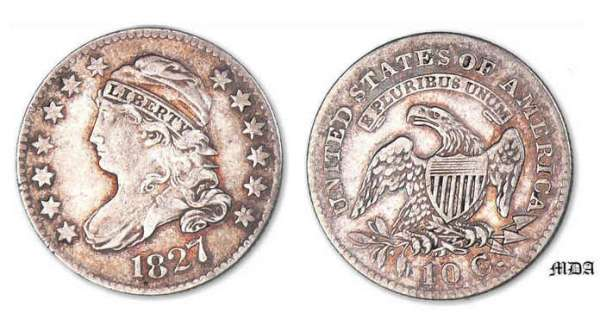 Etat-Unis - Liberty Cap Dime 1827