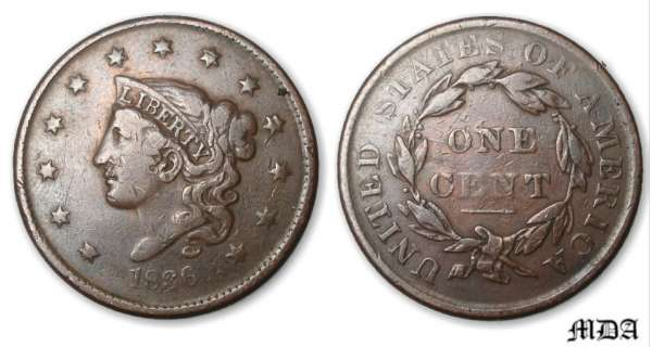 Etat-Unis - One cent coronet 1836