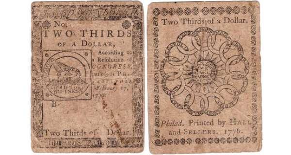 Etats-Unis - Bank Note - Continental congress - Third issue, February 17th 1776 - 2/3 dollars