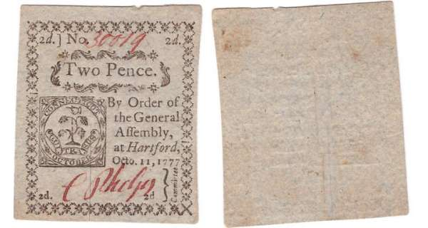 Etats-Unis - Bank Note - State Connecticut - 1777 issue, October 11th 1777 - 2 pence