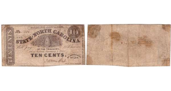 Etats-Unis - Bank Note - Obsolete currency - North Carolina (Raleigh), State of North Carolina - 10 cent January 1st 1866