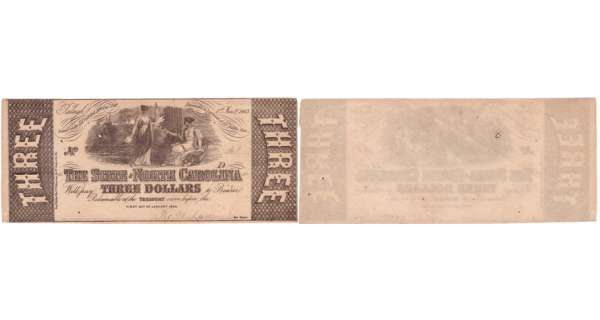 Etats-Unis - Bank Note - Obsolete currency - North Carolina (Raleigh), State of North Carolina - 3 dollars January 1st 1863