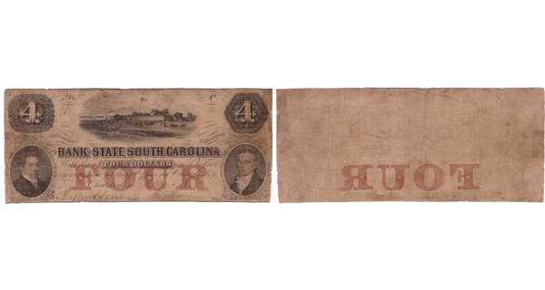Etats-Unis - Bank Note - Obsolete currency - South Carolina (Charleston), Bank State of South Carolina - 4 dollars May 8th 18xx