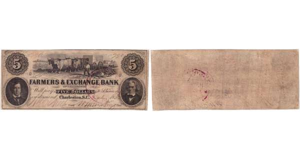 Etats-Unis - Bank Note - Obsolete currency - South Carolina (Charleston), Farmers & exchange bank - 5 dollars 1896