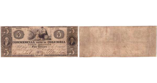 Etats-Unis - Bank Note - Obsolete currency - South Carolina (Columbia), Commercial bank - 5 dollars October 4th 1853
