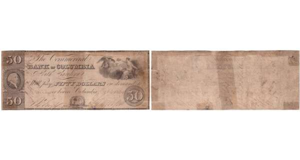 Etats-Unis - Bank Note - Obsolete currency - South Carolina (Columbia), Commercial bank - 50 dollars October 4th 1849
