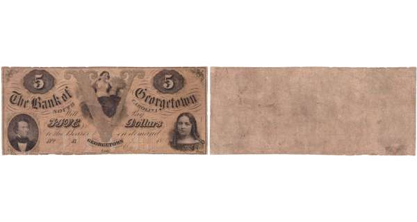 Etats-Unis - Bank Note - Obsolete currency - South Carolina (Georgetown), Bank of Georgetow - 5 dollars October 1st 1856