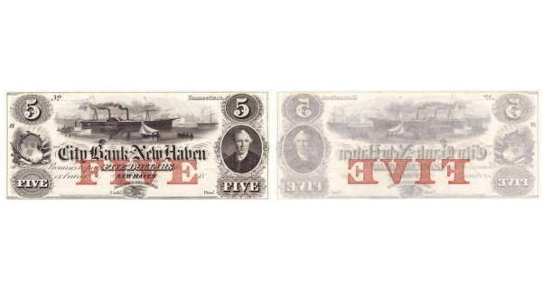 Etats-Unis - Bank Note - Obsolete currency - Connecticut (New Haven), City Bank of New Haven - 5 dollars 18--