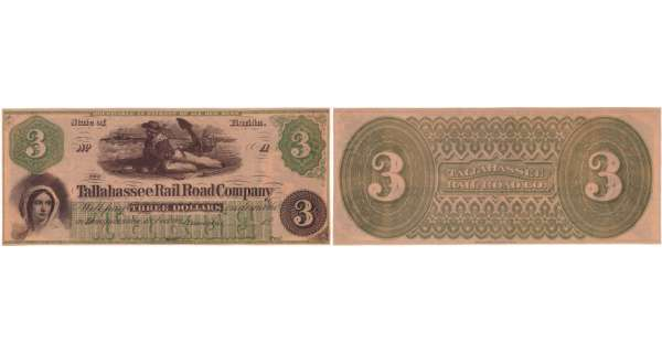 Etats-Unis - Bank Note - Obsolete currency - Florida (Tallahassee), Raid road company - 3 dollars 18--