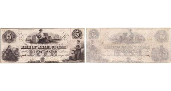 Etats-Unis - Bank Note - Obsolete currency - Georgia (Milledgeville), The mechanics bank - 5 dollars May 1st 1854