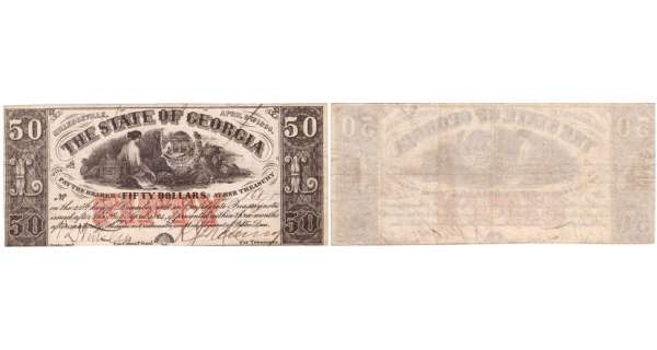 Etats-Unis - Bank Note - Obsolete currency - Georgia (Milledgeville), The state of Georgia - 50 dollars serie 1863 , 1864 issue