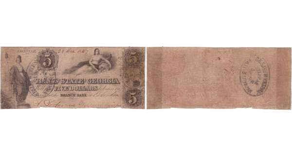 Etats-Unis - Bank Note - Obsolete currency - Georgia (Savannah), State of Georgia - 5 dollars December 28th 1849