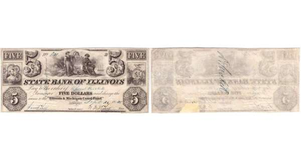 Etats-Unis - Bank Note - Obsolete currency - Illinois (Lockport), State of Illinois - 5 dollars september 14th 1840