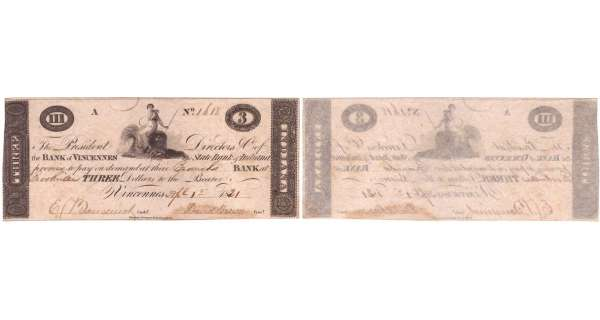 Etats-Unis - Bank Note - Obsolete currency - Indiana (Vincennes), State of Indiana - 3 dollars April 1st 1821