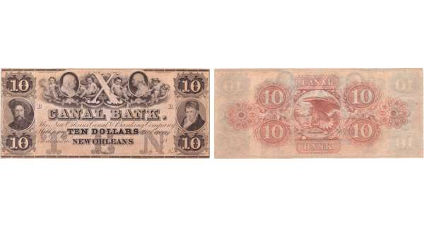 Etats-Unis - Bank Note - Obsolete currency - Louisiana (New Orleans), Canal bank -10 dollars 18-- série B