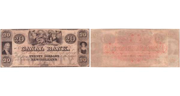 Etats-Unis - Bank Note - Obsolete currency - Louisiana (New Orleans), Canal bank - 20 dollars 18-- série A