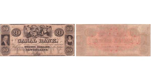 Etats-Unis - Bank Note - Obsolete currency - Louisiana (New Orleans), Canal bank - 20 dollars 18-- série B