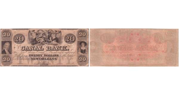 Etats-Unis - Bank Note - Obsolete currency - Louisiana (New Orleans), Canal bank - 20 dollars 18-- série C